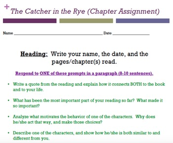 The Catcher in the Rye (Chapter Assignment)