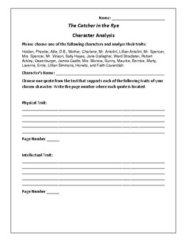 The Catcher in the Rye Character Analysis Activity - J. D. Salinger