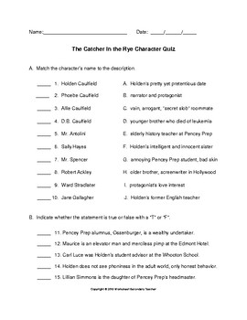 The Catcher in the Rye Character Quiz with Answer Key