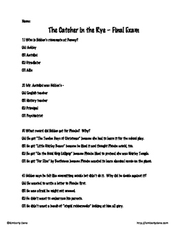 The Catcher in the Rye Final Exam Test