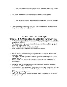 The Catcher in the Rye Getting to Know Holden Activity