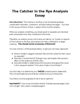 the catcher in the rye guided essay packet by lovely literature