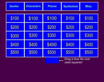 The Catcher in the Rye Jeopardy Game for Smartboard