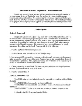 The Catcher in the Rye - Project Based Assessment - CCSS Aligned