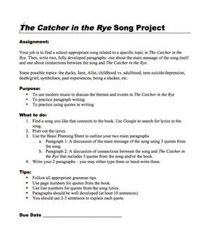 The Catcher in the Rye Song Project (PDF)