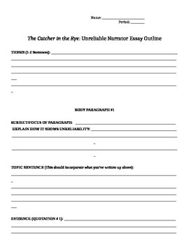 The Catcher in the Rye Unreliable Narrator Essay