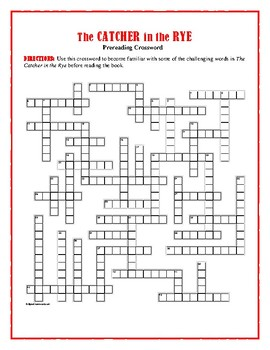 The Catcher in the Rye:  50-Word Prereading Crossword—Great Warm-Up for the Book