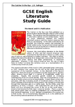 The Catcher in the Rye by J. D Salinger: Study pack
