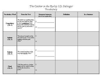 The Catcher in the Rye by J.D. Salinger Vocabulary Use Packet