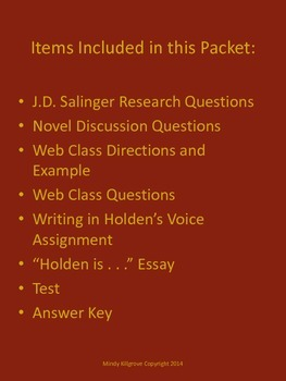 The Catcher in the Rye by J.D. Salinger Study Unit