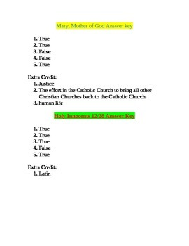 The Catholic Saints: Weekly notes, True/False tests, and answer keys