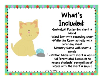 "The Cats Can! Sounds and Word Activities for ""Short A"""