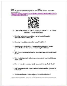 worksheet: Trench Warfare Worksheets Worksheet World War One ...