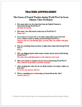 the causes of trench warfare during world war i in seven minutes video worksheet. Black Bedroom Furniture Sets. Home Design Ideas