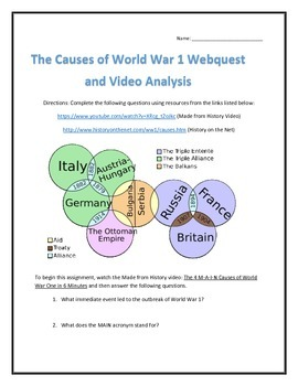 the causes of world war 1 webquest and video analysis with key tpt. Black Bedroom Furniture Sets. Home Design Ideas