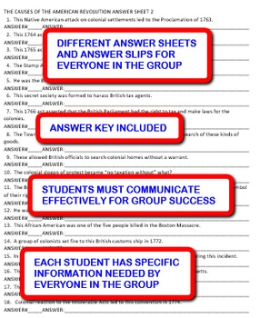 The Causes of the American Revolution: Interdependent Answer Sheets Activity