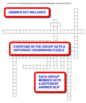 The Causes of the American Revolution: Interdependent Crossword Puzzles Activity
