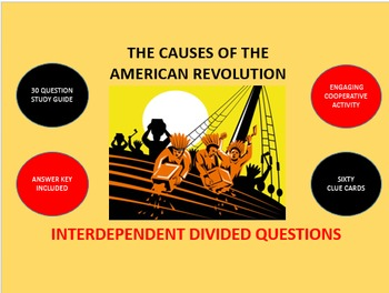 The Causes of the American Revolution: Interdependent Divided Questions Activity