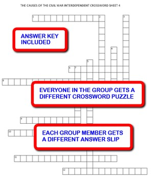 The Causes of the Civil War: Interdependent Crossword Puzzles Activity