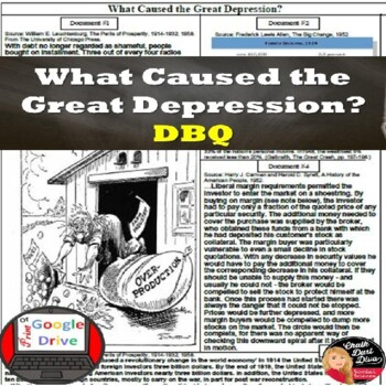 Great Depression-The Causes of the Great Depression DBQ Print & Digital
