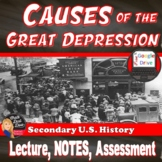 Great Depression -The Causes of the Great Depression Lecture Print and Digital