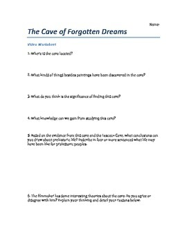 The Cave of Forgotten Dreams Film Worksheet