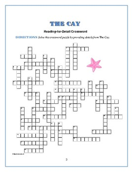 The Cay: 2 Reading-for-Detail Crosswords—Great competition activity!