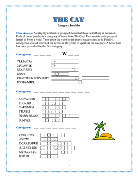 The Cay: 3 Category Jumbles Word Puzzles—Fun & Unique!
