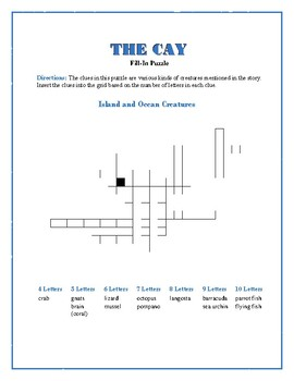 The Cay: 5 Fill-In Word Puzzles—Fun Downtime Activity!