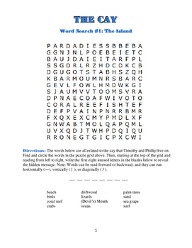The Cay: 5 Word Searches w/Hidden Messages—All Based on the Book!