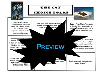 The Cay Choice Board Novel Study Activities Menu Book Project Rubric Tic Tac Toe