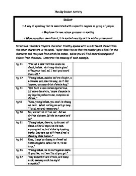 The Cay Dialect Activity and Plot Activity