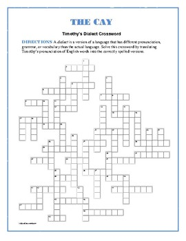The Cay: Timothy's Dialect Crossword—Unique! | TpT Schematic Pronunciation on