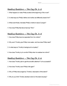 The Cay Novel Test and Reading Questions