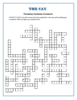 The Cay: Prereading Vocabulary Crossword--50 words!
