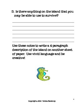 """The Cay """"Shipwrecked"""" Writing Activity"""