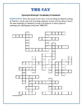The Cay: Synonym/Antonym Vocabulary Crossword--Use with Bookmarks Plus!