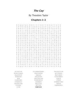 The Cay Vocabulary Word Search Chapters 1-2