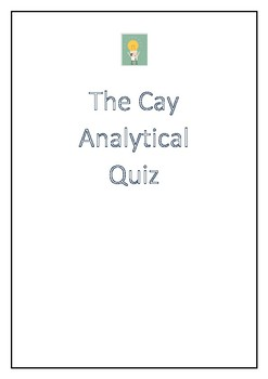 The Cay by Theodore Taylor Analytical Quiz