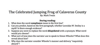 The Celebrated Jumping Frog of Calaveras County Questions WITH answers