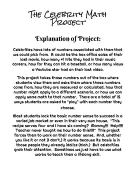 The Celebrity Math Project - Teaching Number Sense Thru the Power of Celebrity