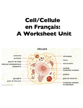 Science in French: The Cell or Cellule (Worksheets)