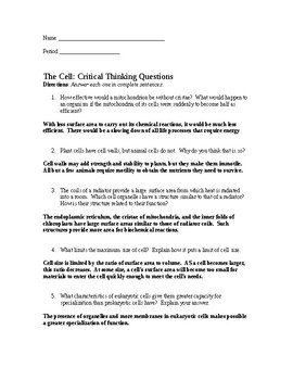 The Cell: Critical Thinking Questions