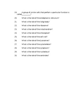 The Cell Study Guide