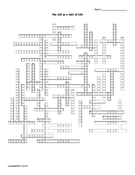 The Cell as a Unit of Life Vocabulary Crossword for Zoology