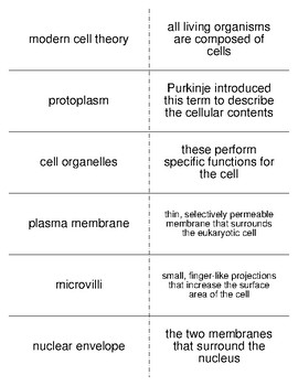 The Cell as a Unit of Life Vocabulary Flash Cards for Zoology