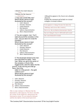 """""""The Cemetery Path"""" : Characterization Formative Assessment With Answer Key"""