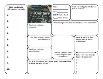 The Century: Great Depression Video Sheet