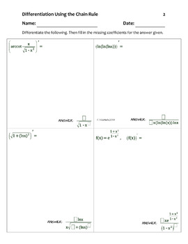 """Calculus: THE CHAIN RULE """"Fill in the missing...""""Activity (typed solutions)"""