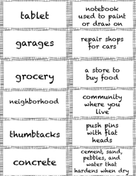 The Chalk Box Kid Vocabulary Cards for Ch. 1 & 2